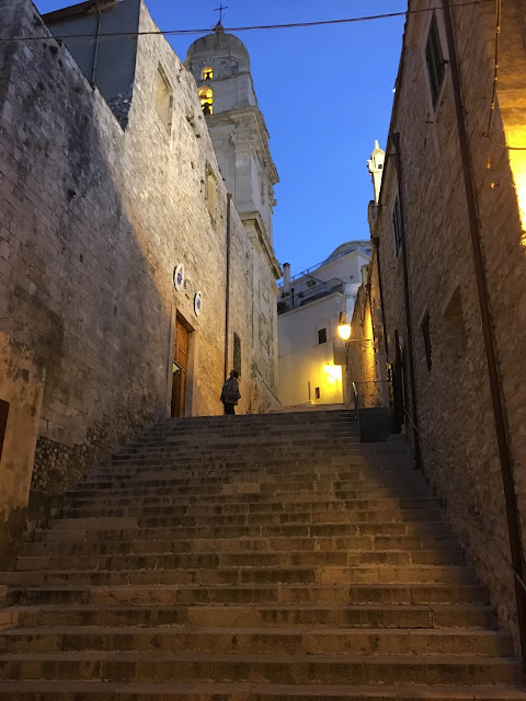Steps up to the Cattedrale Di Santa Maria Assunta, Vieste, Italy