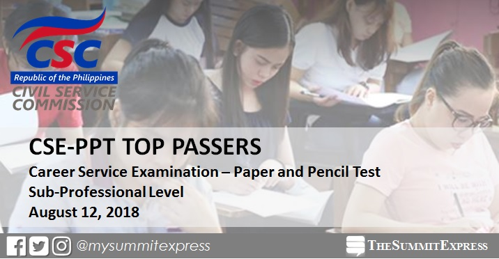TOP 10 PASSERS: August 2018 Civil Service Exam Sub-Professional CSE-PPT
