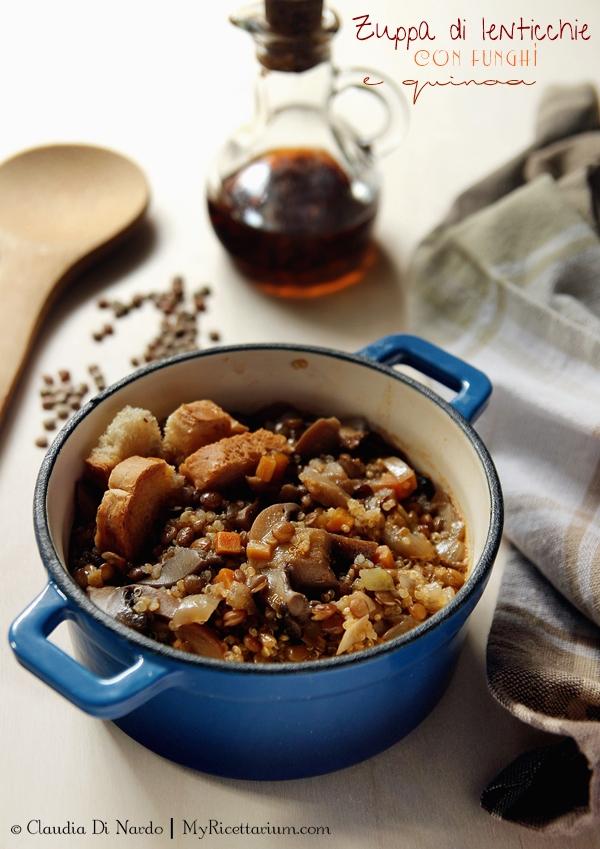Zuppa di lenticchie, funghi e quinoa