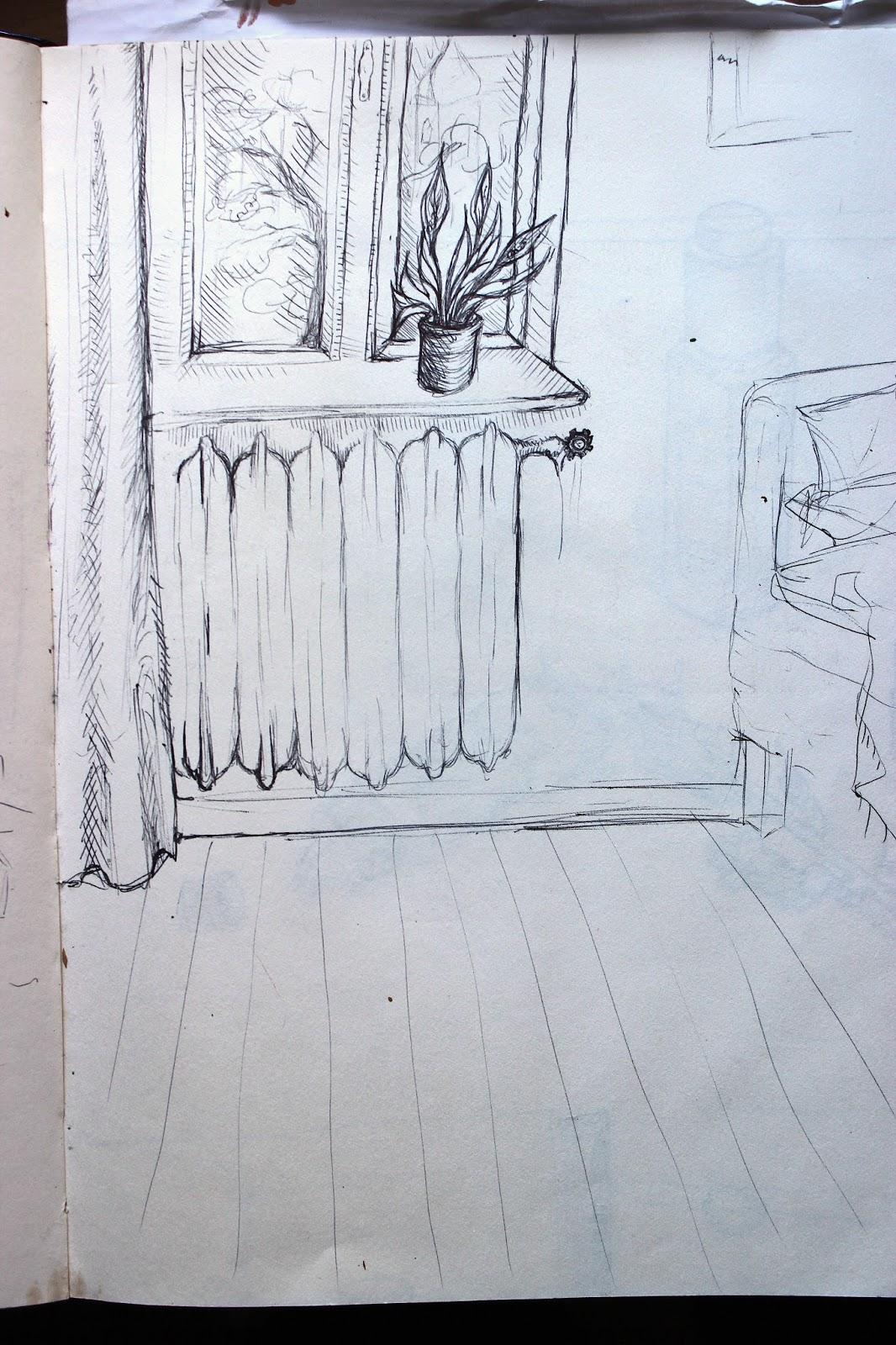 Drawing Sketch Illustration Pencil Sketchpad Notebook Bedroom Radiator