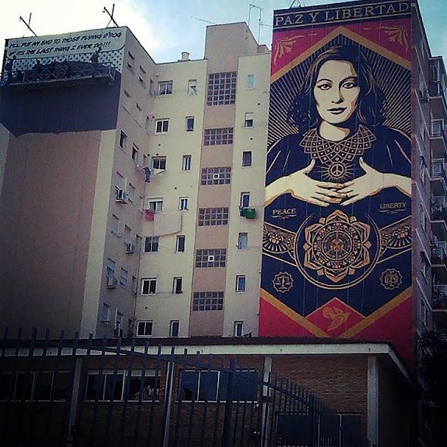 """Paz Y Libertard"" New Street Art Mural By American Artist Shepard Fairey For Maus Malaga In Spain. 3"
