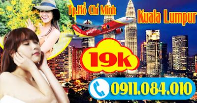 Bán vé khuyến mãi Vietjet Air đi Kuala Lumpur giá chỉ 19k
