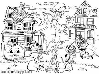 Phantom teenagers cartoon Yogi Bear's Jellystone park and camp resort ghost town Halloween printable