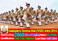 Sashastra Seema Bal (SSB) Recruitment 2016 - 2068 Constable Posts