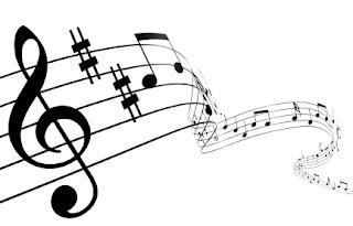 Pentagramas y notas musicales en blanco y negro