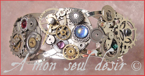 bracelet steampunk bijou mouvement de montre mécanique mécanisme rouages horlogerie steampunk bracelet gears clockwork watchwork watch part jewel