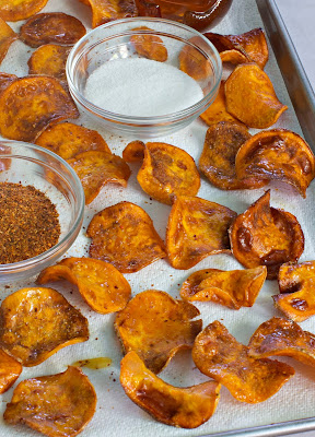 Honey butter sweet potato chips on My Paleo Marin with salt and red pepper flakes.