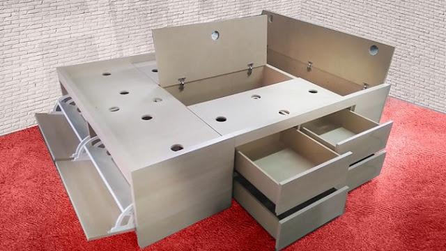 Cama práctica y funcional con espacios de guardado