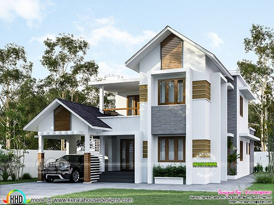3d rendering of 4 bedroom mixed roof house architecture