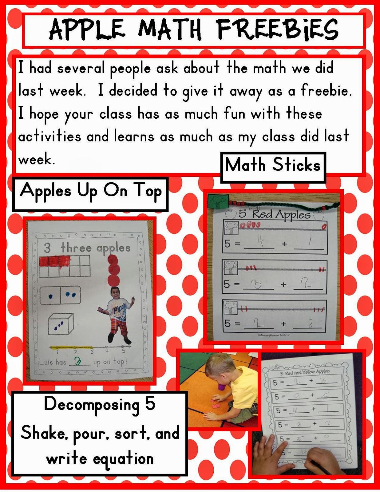 Golden Gang Kindergarten Apple Math Freebies