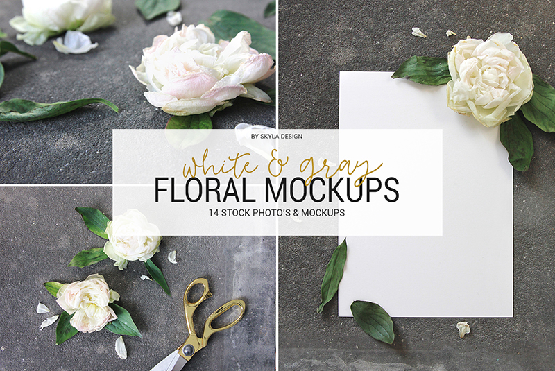 White & gray peony floral mockups