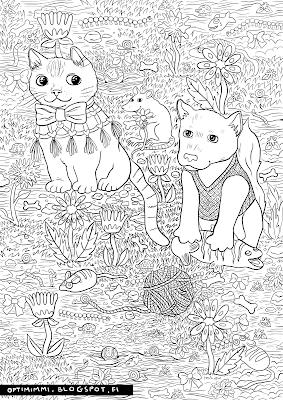 A coloring page of a cat, a dog and a rat / Värityskuva kissasta, koirasta ja rotasta