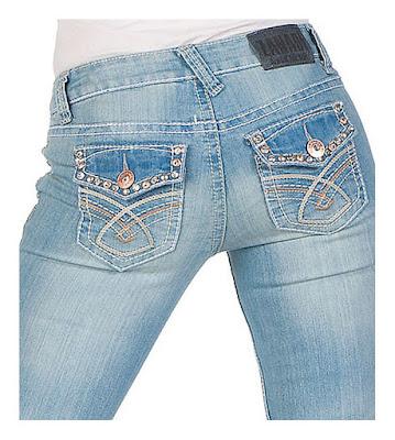 Голубые джинсы со стразами на задних карманах