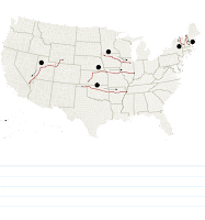 Proposed Transmission Lines for Renewable Energy: Several companies are hoping to build high-voltage transmission lines to transport renewable energy from wind farms and hydroelectric plants to more populous regions of the country. One such company, Clean Line Energy Partners, has been denied permission by the Missouri Public Service Commission to run its Grain Belt Express transmission line across that state. (Credit: The New York Times, Source: American Wind Energy Association; the companies) Click to Enlarge.