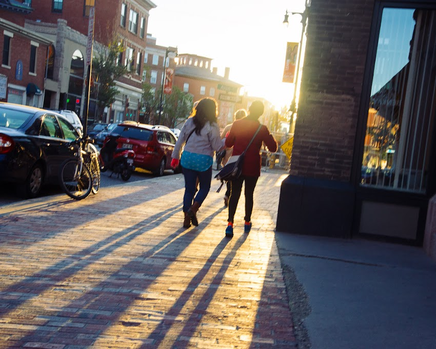 Portland, Maine October 2016 photo by Corey Templeton of the late afternoon sun near Longfellow Square on Congress Street.