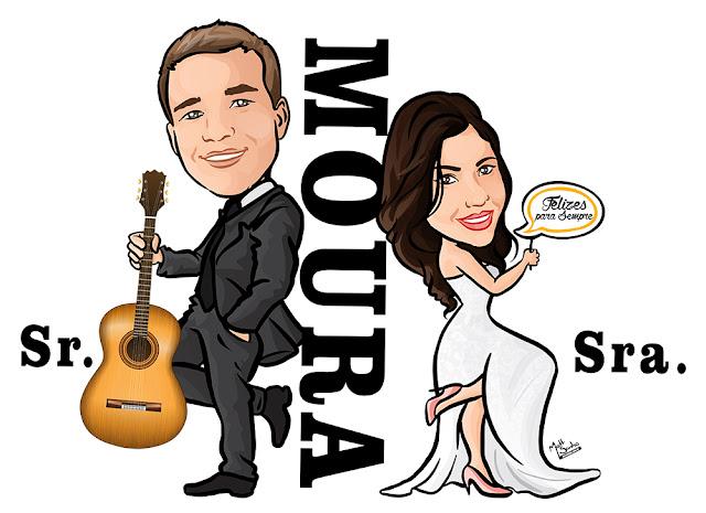 Caricatura para Casamento Sr e Sra Smith