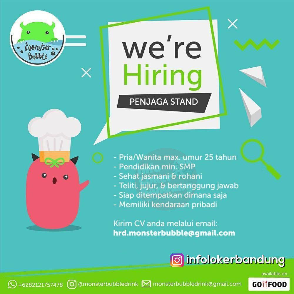 Lowongan Kerja Penjaga Stand Monster Bubble Drink Bandung Maret 2019