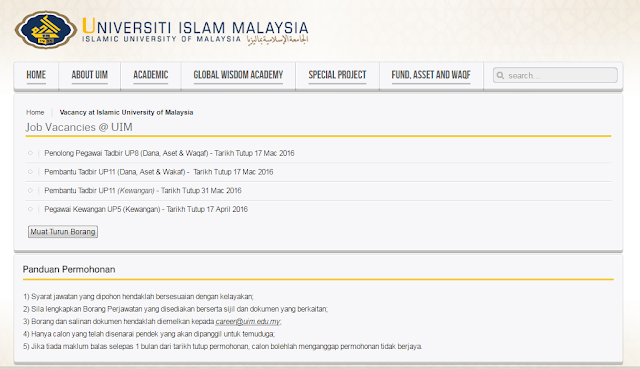 Rasmi - Jawatan Kosong (UIM) Universiti Islam Malaysia 2019