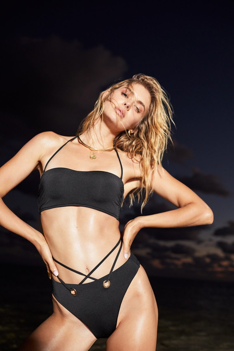 Megan Williams poses in black Victoria's Secret bikini set