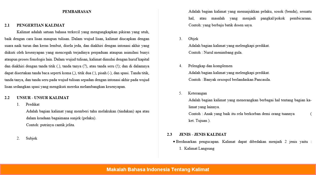Sampel Makalah Bahasa Indonesia Tentang Kalimat Terbaru Contoh Makalah Pdf Doc