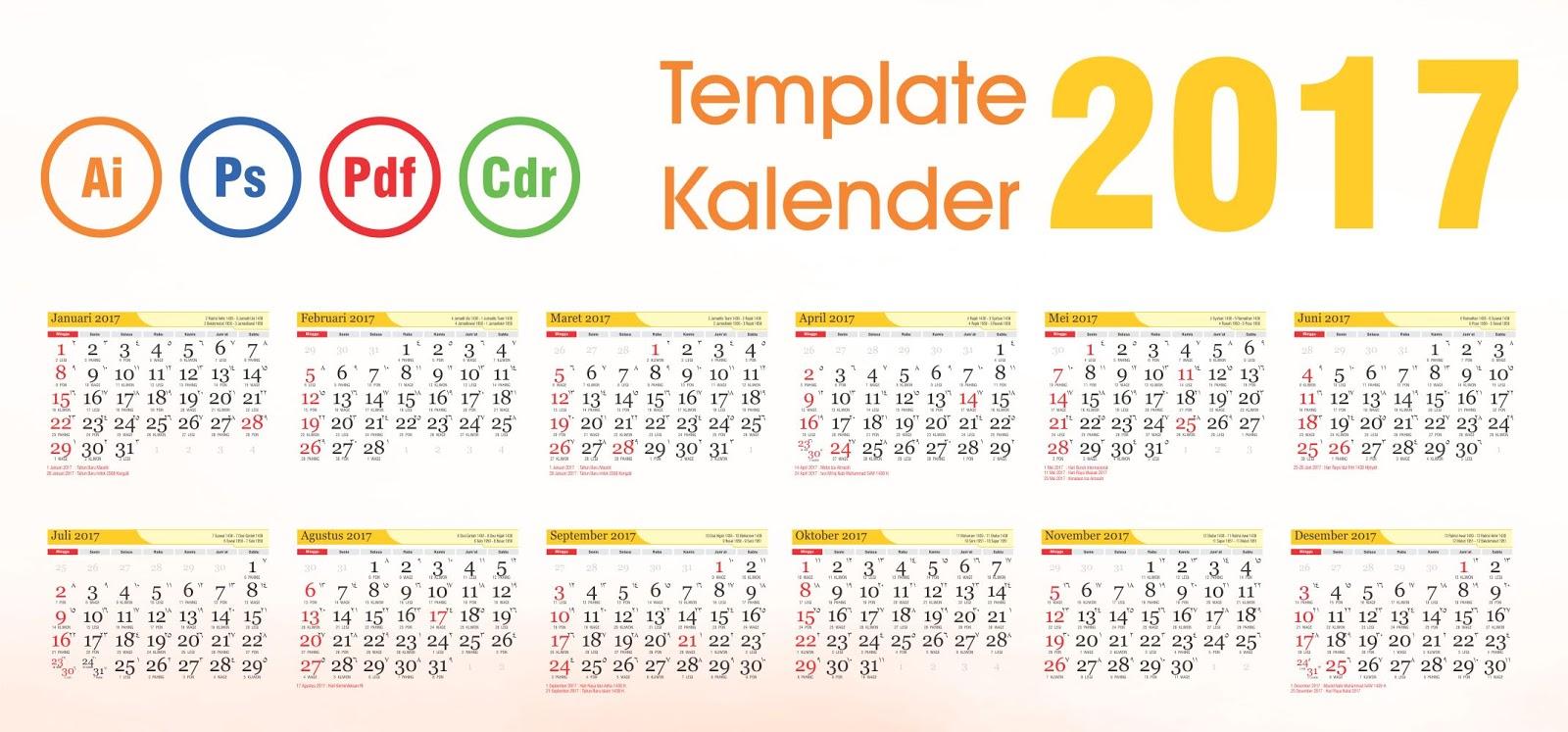Download Template Kalender 2017 Vector Editable Daftar