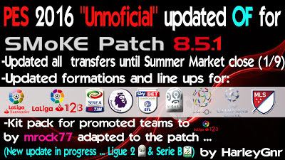 Option File PES 2016 untuk SMoKE Patch 8.5.1 update 3-08-2016