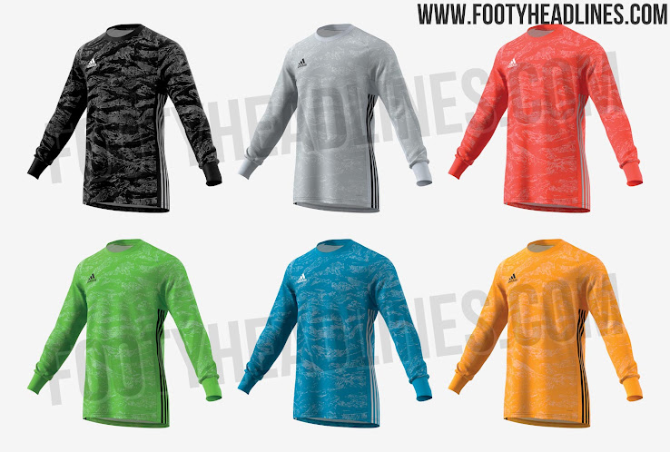 99092e3478f The Adidas 2019 goalkeeper shirt template has a very basic construction  with a simple crew neck and features the 3 Stripes along the sides.