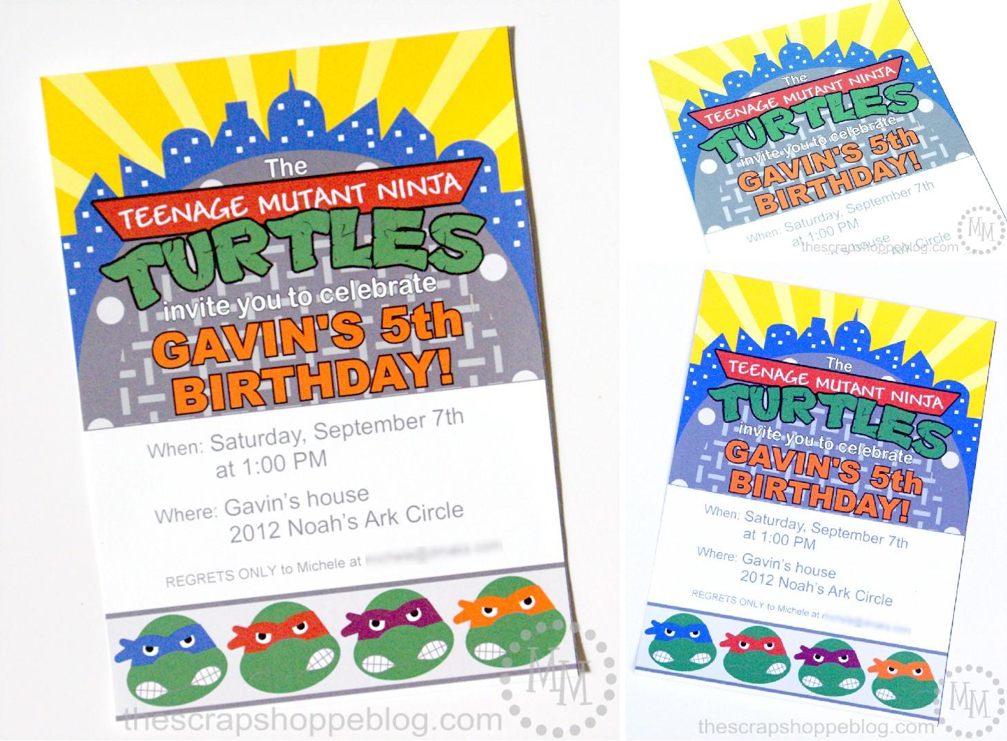 Printable Invitations Ninja Turtles
