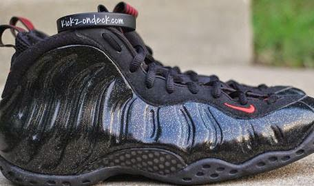 18a9b597c04 Here is a look at a pair of Nike Air Foamposite One Sample Black Gold  Speckle Sneakers