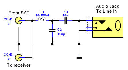 Simple DiSEqC monitor and signal analyzer schematic