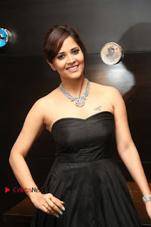 Telugu Anchor Actress Anasuya Bharadwa Stills in Strap Less Black Long Dress at Winner Pre Release Function  0021.jpg