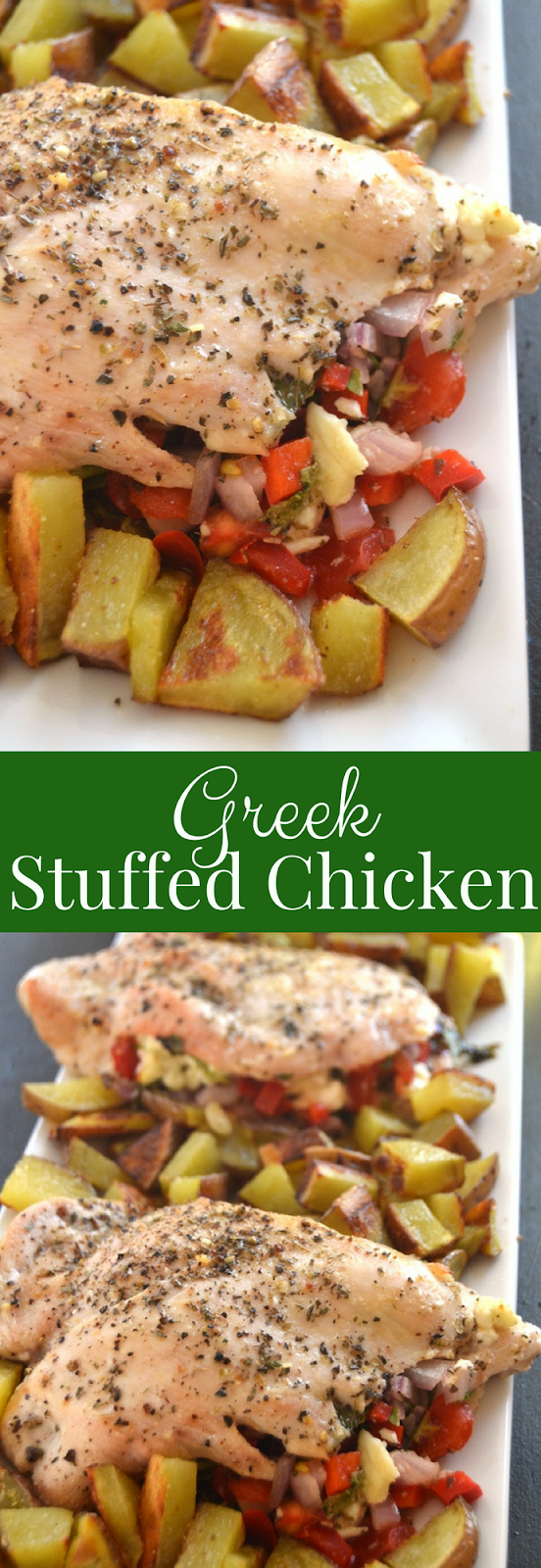 Greek Stuffed Chicken is loaded with feta cheese, tomatoes, red onion, spinach and bell peppers and marinaded in a delicious lemon dressing for the perfect meal! www.nutritionistreviews.com