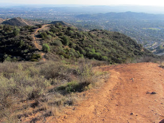 View south toward Poop-Out Trail Glendora from the junction of Lower Monroe Road and Upper Mystic Canyon Trail