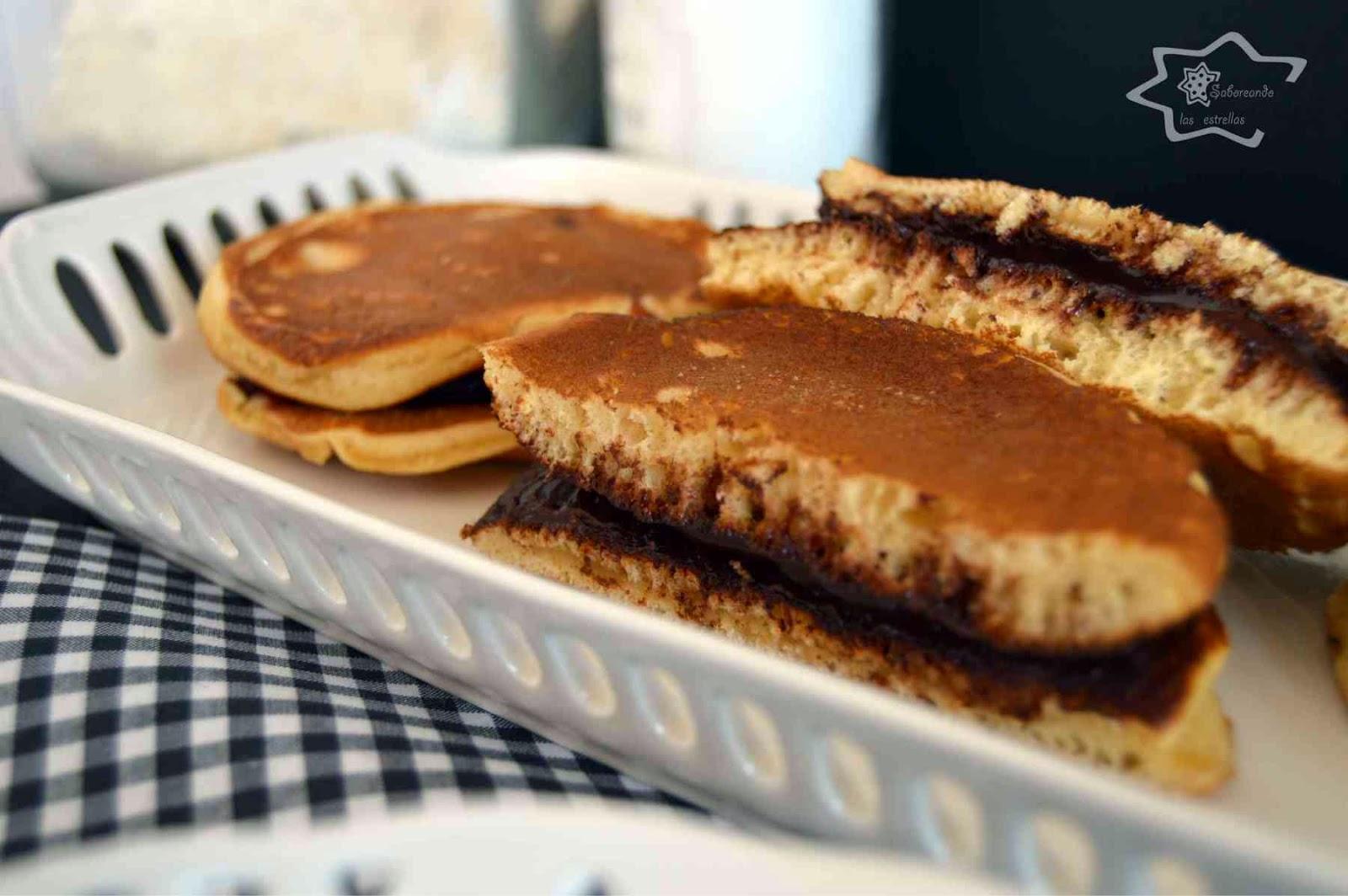 """Dorayakis rellenos de """"Nutella"""" casera sin lactosa"""