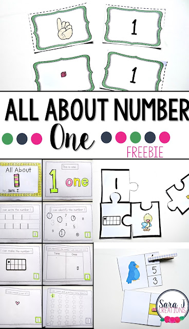 Free math centers all about the number one! Practice counting and identifying with puzzles, mini books, games and more!