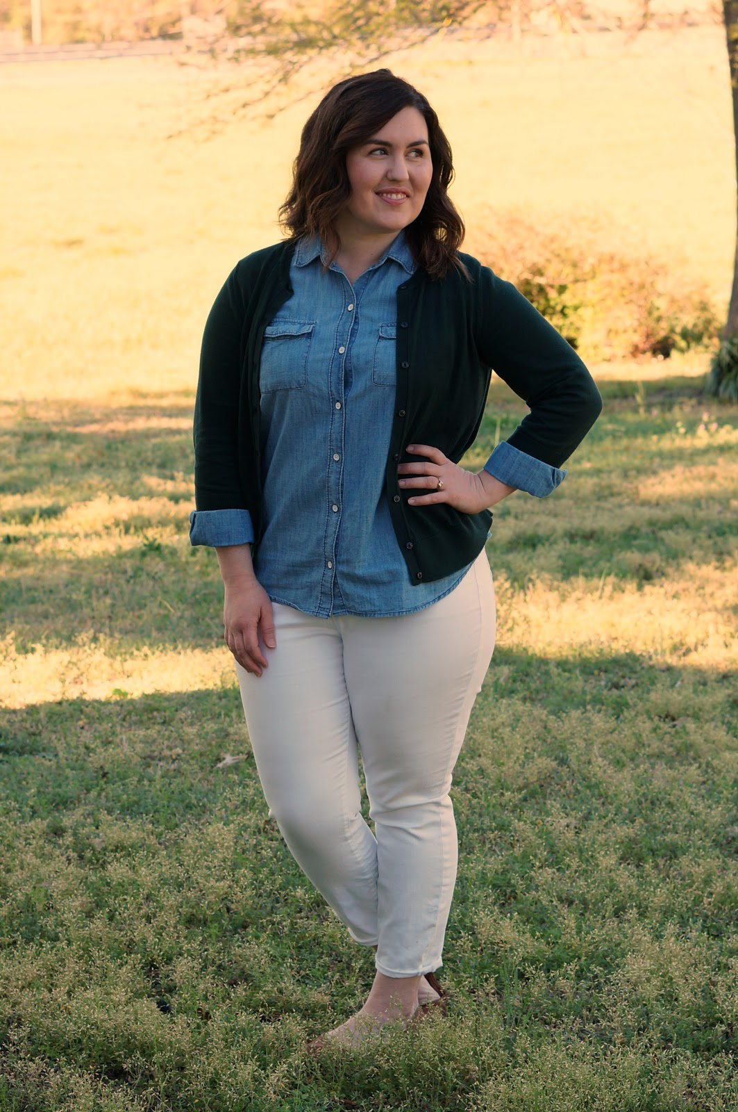 Rebecca Lately Ann Taylor White Jeans Old Navy Chambray Lucky Brand Emmie Flats