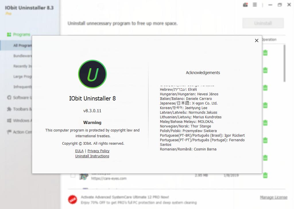 تفعيل برنامج IObit Uninstaller Pro 8 3 0 11 - arzalpro