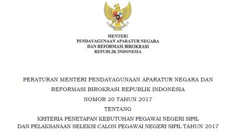 PERMENPARB Nomor 20 Tahun 2017 Tentang Kriteria Penetapan Kebutuhan PNS dan Pelaksanaan Seleksi CPNS Tahun 2017
