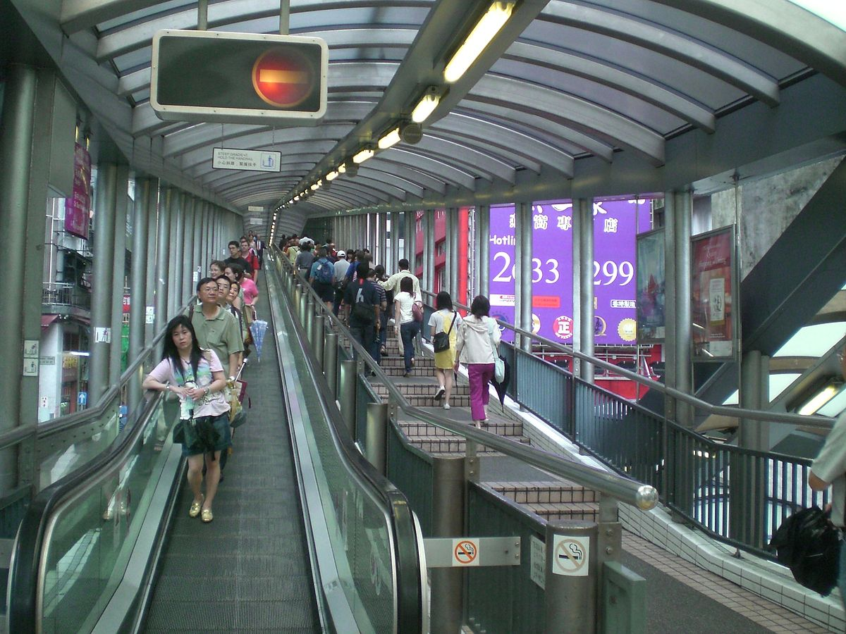 Central Mid Level outdoor covered longest Escalator in the world Hong Kong