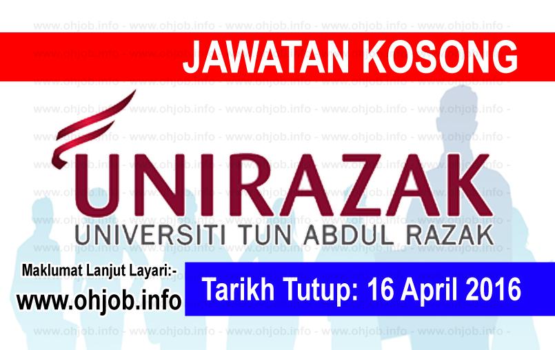 Jawatan Kerja Kosong Universiti Tun Abdul Razak (UNIRAZAK) logo www.ohjob.info april 2016