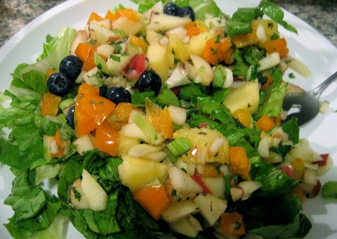 Tangy And Fruity Salad With Blueberries And Pears