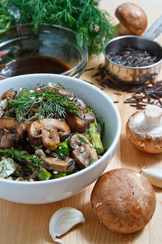 Warm Mushroom, Roasted Asparagus and Wild Rice Salad with Feta Recipe