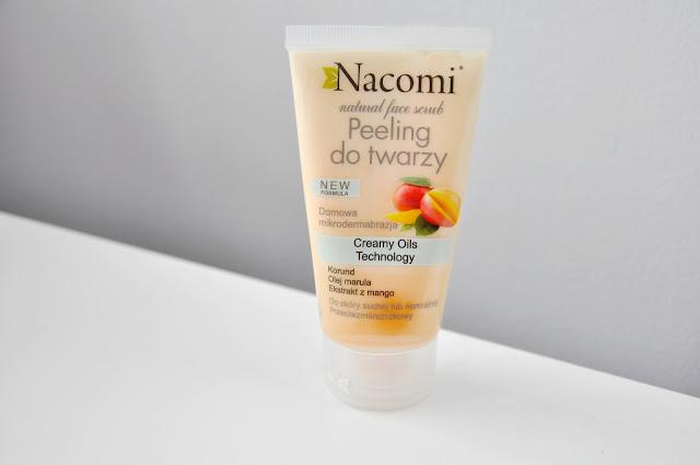 przeciwzmarszczkowy peeling do twarzy nacomi do cery suchej i normalnej z olej marula i ekstraktem z mango