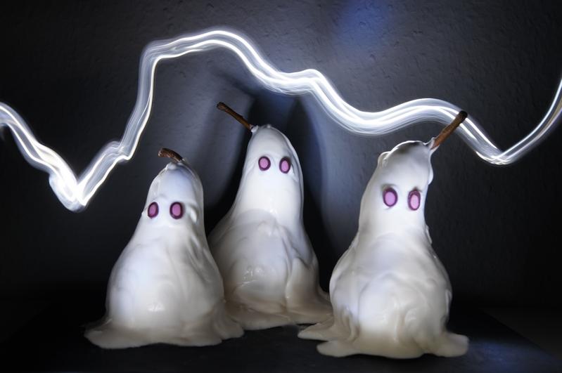Halloween Dessert idee Birnengeister Birnen Geister Gespenster