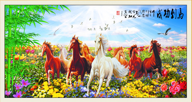Vector Tranh Dán Tường Đàn ngựa