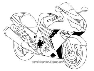 Mewarnai Gambar Mewarnai Motor Sport Kawasaki Ninja 2