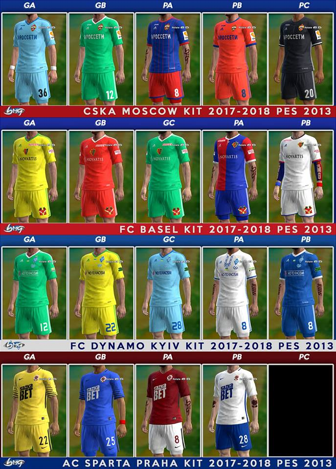 PES 2013 Update Kits 31.08.2017 by BMG Kitmaker