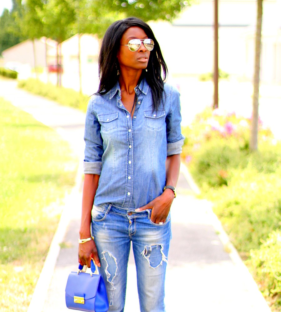 rayban-aviateur-mirror-sunglasses-espadrilles-kenzo-mini-sac-furla-jeansdechire-zara-chemise-jeans-hm-larsson-jennings-montre-blog-mode