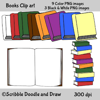 clip art images of books stacked in a pile and an opened book