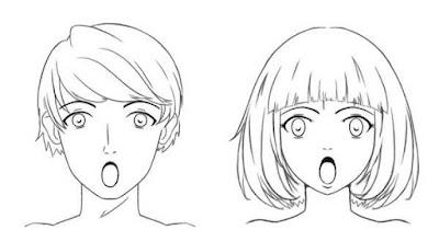 Personnages étonnés avec la bouche grande ouverte